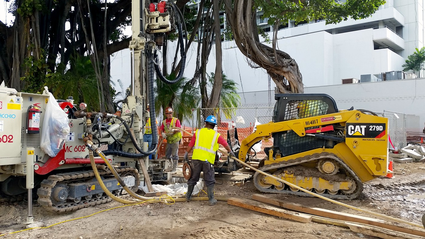 Installing micropiles at the International Marketplace