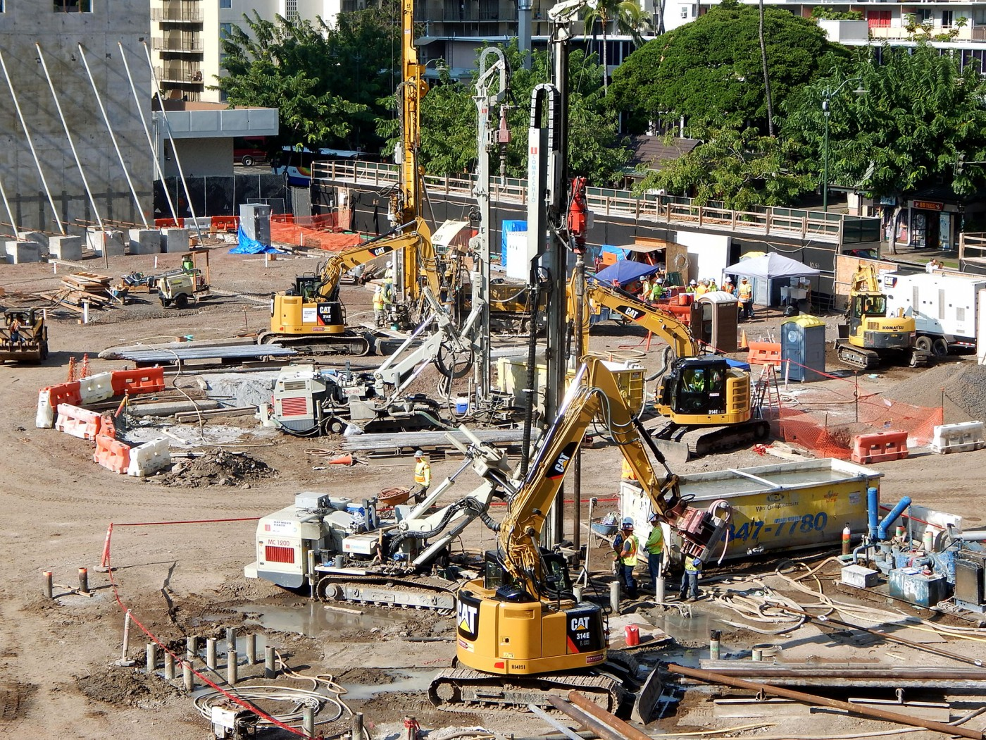 Micropiles installation at International Marketplace