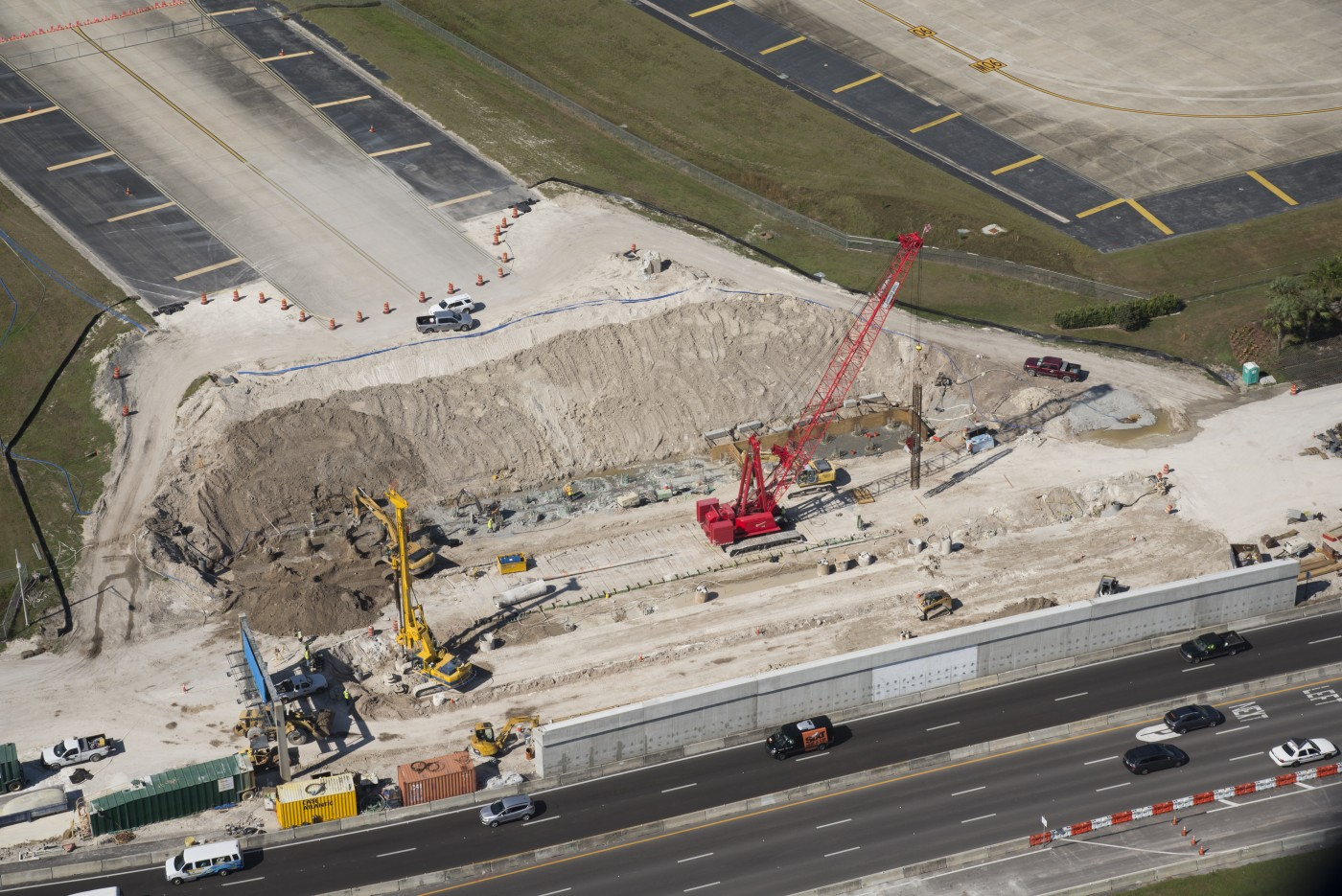 An aerial view of the drilled shafts being installed at the Tampa International Airport.