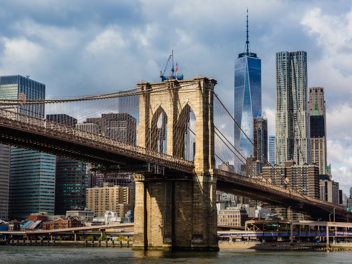 Close-up of the Brooklyn Bridge