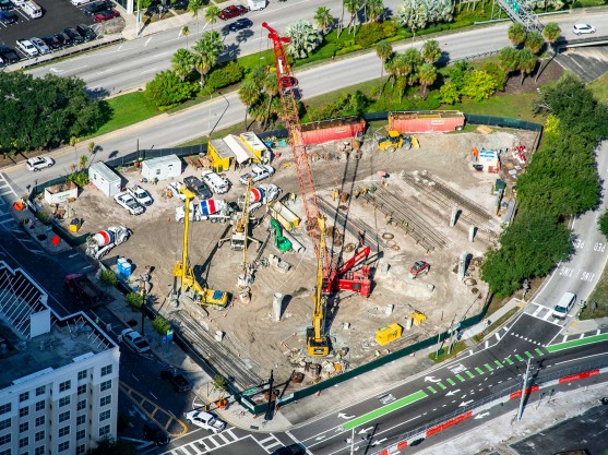An aerial view of the installation of drilled shafts