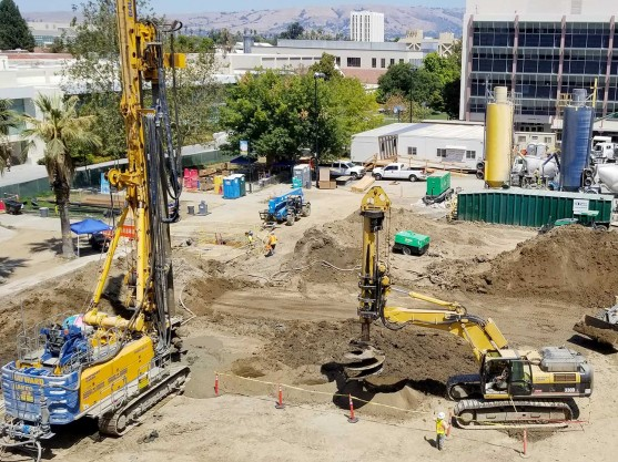 Dry soil mixing being performed at San Jose State University