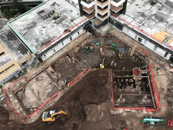 Aerial of the excavation support and heavy foundations at St Joseph's Hospital Inpatient Tower