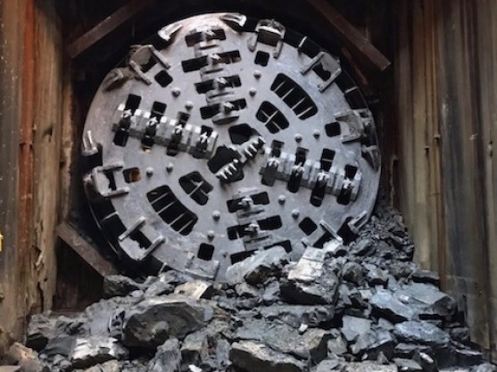 The TBM creating a tunnel